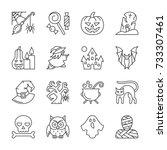halloween thin line icon set.... | Shutterstock .eps vector #733307461