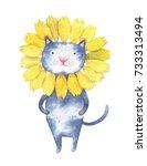 Watercolor Cute Cat In Flower...