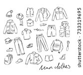 illustrations of men's clothing. | Shutterstock .eps vector #733319695