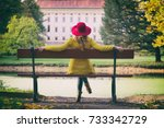 fashion woman with red hat...   Shutterstock . vector #733342729