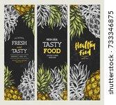chalkboard pineapple banner... | Shutterstock .eps vector #733346875