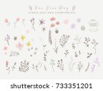 violet and brown floral... | Shutterstock .eps vector #733351201