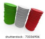 plates forming italian flag ... | Shutterstock . vector #73336906