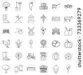 farming icons set. outline... | Shutterstock .eps vector #733369279