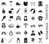 backpack icons set. simple... | Shutterstock .eps vector #733373725
