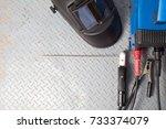 welding equipment on a metal... | Shutterstock . vector #733374079
