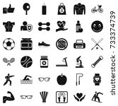 exercise icons set. simple... | Shutterstock .eps vector #733374739