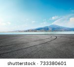 asphalt road square and river... | Shutterstock . vector #733380601