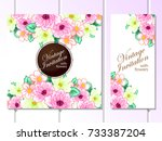 invitation with floral... | Shutterstock . vector #733387204