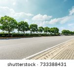 asphalt road and green forest... | Shutterstock . vector #733388431
