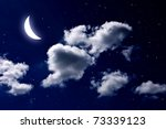 Moon And Star In The Cloud Sky...