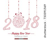 happy new year card. the year... | Shutterstock .eps vector #733391569