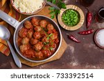 traditional spicy meatballs in... | Shutterstock . vector #733392514