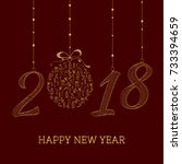 happy new year card. the year... | Shutterstock .eps vector #733394659