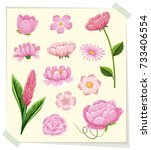 different types of pink flowers ... | Shutterstock .eps vector #733406554