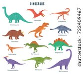 Set Of Dinosaurs Including T...