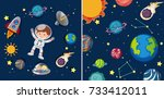 two space scenes with planets... | Shutterstock .eps vector #733412011