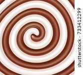 milk and chocolate swirls.... | Shutterstock . vector #733412299