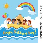 happy children's day poster... | Shutterstock .eps vector #733415941