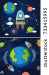 two scenes of earth and... | Shutterstock .eps vector #733415995