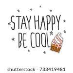 cool t shirt design in doodle... | Shutterstock .eps vector #733419481