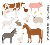 different home farm vector... | Shutterstock .eps vector #733422589