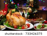 baked turkey or chicken. the... | Shutterstock . vector #733426375