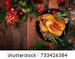 baked turkey or chicken. the... | Shutterstock . vector #733426384