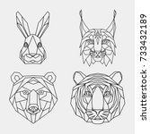 set polygon animals of asia.... | Shutterstock .eps vector #733432189