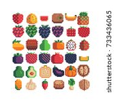 fruits and vegetables icons set ... | Shutterstock .eps vector #733436065
