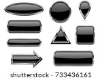 black buttons set. glass icons... | Shutterstock .eps vector #733436161