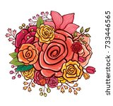 flower bouquet vector... | Shutterstock .eps vector #733446565