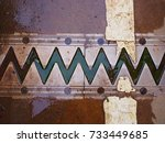 Old Rusty Steel Zigzag Pattern...