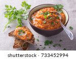 vegetable dip from zucchini ... | Shutterstock . vector #733452994