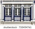 striking singapore shop house...   Shutterstock . vector #733454761
