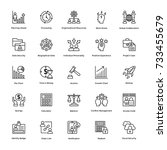 project management vector icons ... | Shutterstock .eps vector #733455679