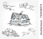 sketch of  house architecture.... | Shutterstock .eps vector #733458574