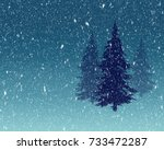Pine Trees In Snow Fall...