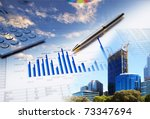 collage of various business... | Shutterstock . vector #73347694