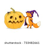 a happy cartoon fox stands and... | Shutterstock .eps vector #733482661