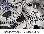 macro photo of tooth wheel... | Shutterstock . vector #733500379