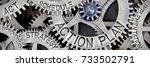 macro photo of tooth wheel... | Shutterstock . vector #733502791