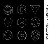 geometric figure. Hipster Fashion minimalist design. Film solid bodies. octahedron flat design vector illustration, fine art line. Vector illustration.