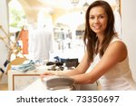 female sales assistant at... | Shutterstock . vector #73350697
