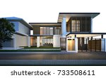 3d rendering of tropical house... | Shutterstock . vector #733508611