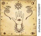 human hand  dragons tempters ... | Shutterstock .eps vector #733508899