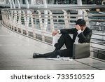 businessman is disappointed... | Shutterstock . vector #733510525