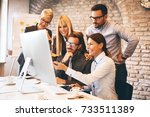 creative business team working... | Shutterstock . vector #733511389