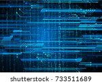 binary circuit board future... | Shutterstock .eps vector #733511689