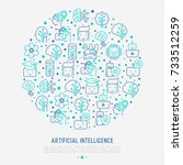 machine learning and artificial ... | Shutterstock .eps vector #733512259
